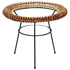 Janine Abraham / Dirk Jan Rol Rattan Side Table, Italy, 1950 | 1stdibs.com