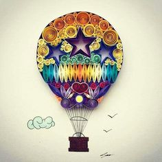 Hot air balloon paper quilling