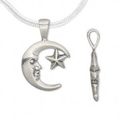 Pendant, antiqued sterling silver, 26x16.5mm double-sided moon with star. Sold individually.