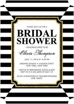 Striking Elegance - Signature White Bridal Shower Invitations - Smudge Ink - Black : Front