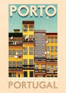 ✈ Porto Portugal Poster by Rui Ricardo, illustrator. We love the vintage-feel of all of his travel posters. ✈