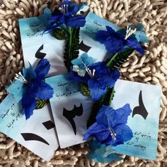 Blue Ombre Hantaran Numberings with Paper Gladiolus