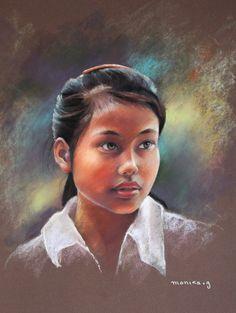 Jeune fille de Lao Caï - Pastel de Monique Genain www.moniquegenain.jimdo.com