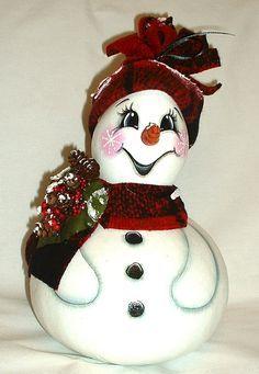Snowman Gourd - Hand Painted Gourd.