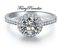 1 Ct Round Cut lab made Diamond Deco Halo Setting by FairyParadise