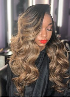 Beautiful long wavy hairstyles wigs for black women lace front wigs human hair wigs african american wigs buy now Hair Lights, Light Hair, Nova Hair Straightener, Brown And Silver Hair, Cabelo Ombre Hair, Front Hair Styles, Hair Front, Long Wavy Hair, Thin Hair