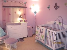 We prepared this room for our first baby- a little girl. Once we found out that we were having a girl we wanted to create a soothing environment with feminine touches. I've always been a huge fan of butterflies, so I was thrilled when I discovered the Beautiful Butterfly beading from NoJo. I had a blast creating her nursery and am very pleased how it tuned out!