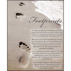 The Footprints plaque features an image of footprints in the sand with water washing up toward them. Printed over the image is the Footprints story.