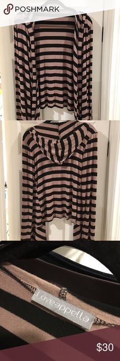 Loveappella Striped Long Sleeve Cardigan Long sleeve stripe cardigan, waist length in back and long tails in front, great layering piece! Great condition! Loveappella Sweaters Cardigans