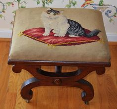 Victorian Needlework Footstool ~ Cat On Pillow Needlepoint Kits, Rug Hooking, Needlework, Embroidery Designs, Kittens, Carving, Victorian, Houses, Pillows