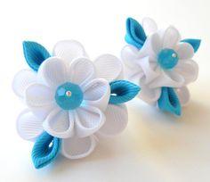 Kanzashi fabric flowers. Set of 2 ponytails . White and turquoise