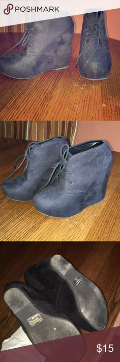 RUE21 black ankle booties Super cute and fun. They're pretty new, I've worn them a couple times. But that's really it. Great condition! Rue 21 Shoes Ankle Boots & Booties