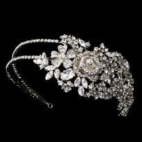 Bold Side Accent Rose Crystal Wedding Headband