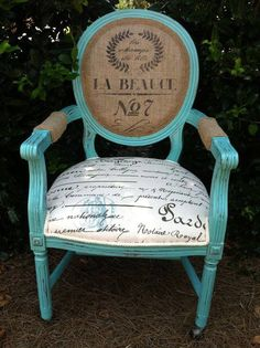 Turq chair with burlap.  FB