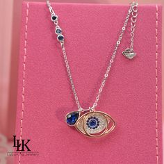 2016 Fashion Charm Jewelry Pure 925 Sterling Silver Necklace For Women Evil Blue Eyes Sapphire Necklace Pendant Turkey Quality