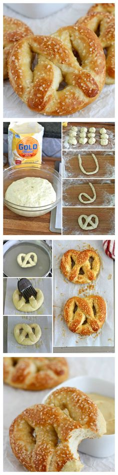 Super soft pretzels with a salty crust that are easy to make and better than the ones you'll buy at the mall or a ballpark. (healthy snacks for kids to buy) I Love Food, Good Food, Yummy Food, Tasty, Homemade Soft Pretzels, Bon Dessert, Baking Recipes, Food To Make, Easy To Make Desserts