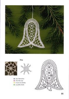 одноклассники                                                       …                                                                                                                                                                                 More Crochet Snowflake Pattern, Crochet Snowflakes, Crochet Motif, Christmas Tree Decorations To Make, Christmas Bells, Fabric Stiffener, Romanian Lace, Bobbin Lace Patterns, Lacemaking