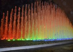 Fountain in Magic Circuit of Water in Lima, Peru - Largest display of fountains in one park in the world