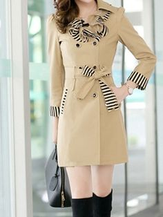 New Arrival Casual Office Street Lapel Long Sleeve Blended Trench-coat | fashionmia.com