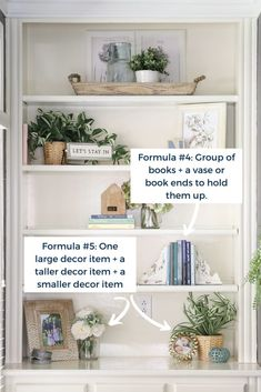 Simple Formulas for Styling Bookshelf De. - Decorating Shelves with Formulas and Simple Patterns Make Shelf Styling Easy! Styling Bookshelves, Decorating Bookshelves, Bookshelves Built In, Built Ins, Library Shelves, Book Shelf Decorating Ideas, Decorate Bookcase, Diy Built In Shelves, Bookcase Decorating