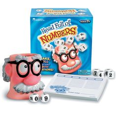 Fine tune your math skills with the fast paced Learning Resources Head Full Of Numbers Math Game. Use the dice to get a set of numbers then think of as many correct mathematical equations as you can before time runs out. Kindergarten Math Games, Math Games For Kids, Board Games For Kids, Fun Math, Math Activities, Kids Math, Fun Games, Counting Games, Classroom Games
