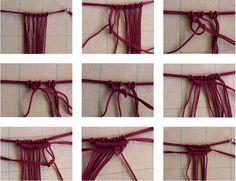 """マクラメのミニ・タペストリー、なんと20年ほど前、毛糸で結んだ """"試し編み""""です。 I made a macramé mini-tapestry ex..."""