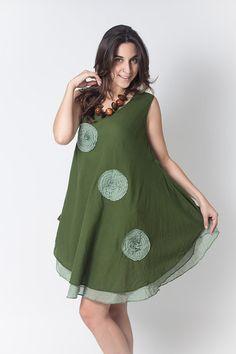 Green Short Knee sleeveless Cotton Women Dress by NaniFashion, $35.99