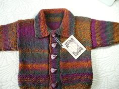 Hand knitted baby boys cardigan / sweater with collar in shades of autumn.  Age 1 - 2 years approx.. $28.00, via Etsy.