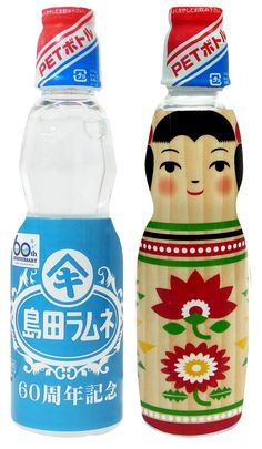 Japanese Ramune Soda Pop with limited edition Kokeshi doll design. #JapaneseDesign