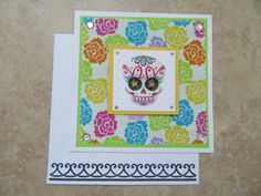 DIA de los MUERTOS Colorful Paper & Fabric Card by PatsPaperCrafts on Etsy