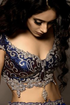 backless lengha choli! diggin the blouse - midnight blue