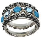 Michael Dawkins Turquoise/Topaz Sterling Silver Band Ring size 5 - Band, DAWKINS, MICHAEL, Ring, silver, Size, Sterling, Turquoise/Topaz - http://designerjewelrygalleria.com/michael-dawkins/michael-dawkins-rings/michael-dawkins-turquoisetopaz-sterling-silver-band-ring-size-5/