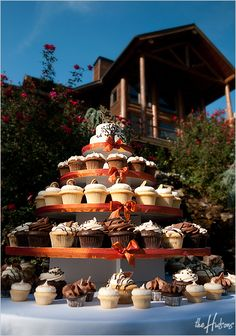 Arrangement of cupcakes as the main wedding cake - Photo by Kori