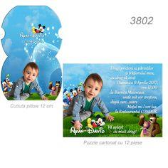 Invitatii Botez Puzzle Cartonat Personalizate cu Fotografie si Text