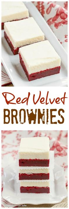 Red Velvet Brownies Denser than the classic cake , these decadent brownies are topped with white chocolate buttercream! Red Velvet Cake Rezept, Red Velvet Brownies, Just Desserts, Delicious Desserts, Dessert Recipes, Yummy Food, Cupcake Recipes, Dessert Ideas, Low Carb Dessert