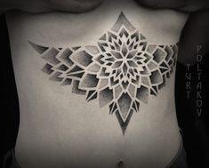 Mandala Tattoo Design, Tattoo Designs, Bauch Tattoos, Stomach Tattoos, Dream Tattoos, Sternum Tattoos, Tatoos, Chest Tattoo, Inked Girls