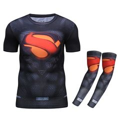 Find More T-Shirts Information about Men Women 3D Print Superman Shirt with Arm Warmers UV Protection Compression T Shirt Summer Skinny Bodybuilding Fitness Tops,High Quality superman shirt,China t shirt Suppliers, Cheap shirt superman from SportsCenter Store on Aliexpress.com