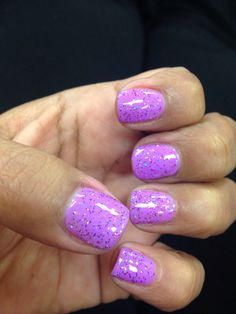 Gelish Nails. Lavender purple with glitter. Spring fun nails.