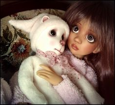 Awe...Maddison MSD BJD and Ted YOSD BJD...both by Liz Frost