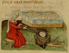 15th-Century French Manuscript Illumination of Woman Cooking Bread