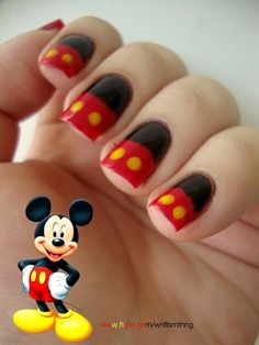 Mickey Mouse Birthday Party Nail Art Designs