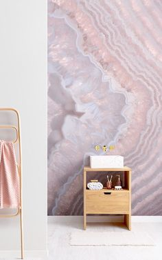 Invite a unique element to your home with this rose quartz wallpaper, a cool crystal design featuring layers of depth. Crystal Wallpaper, Pink Wallpaper, Murs Roses, Color Rosa Claro, Wedding Album Design, Rose Pastel, Pink Home Decor, Crystal Decor, Rose Quartz Crystal