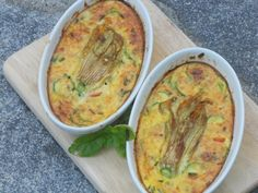 Goats Cheese and Courgette Blossom Clafoutis