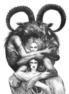 amazing illustration by Beautiful Bizarre featur. Fantasy Kunst, Dark Fantasy Art, Dark Art, Arte Horror, Horror Art, Art And Illustration, Goat Art, Satanic Art, Evil Art