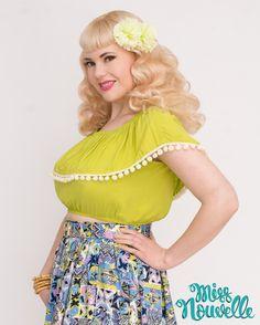 Miss Nouvelle - Shimmy Crop, Lime - vintage inspired, pinup, lime, chartreuse, pom poms retro, 1950s, rockabilly
