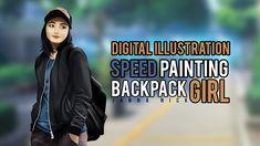 Digital illustration speedpaint - Backpack Girl