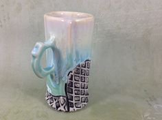 Latte Coffee Cup in Flowing Aqua Blue Glaze Ceramic by Lithology