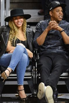 Splurge: Beyonce's Clippers vs. Thunder Game Saint Laurent Classic Leather Jacket, Genetic Denim Shya Cigarette Distressed Jeans, and Gianvito Rossi Suede & Mesh Ankle Strap Pumps | The Fashion Bomb Blog | Bloglovin'