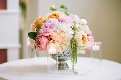 peach and salmon wedding centerpiece