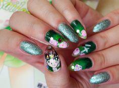 Sailor Jupiter inspired nail art by http://love2807.blogspot.de/2015/09/sailor-moon-blogparade-sailor-jupiter.html
